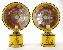 Antique Pair Tole Reflector Lamps Italy