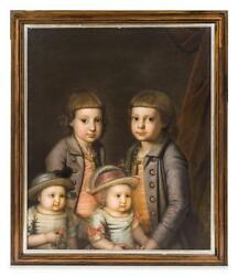 Fine 18th Century Portrait Painting of Four Children (German School), c 1730