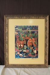 Signed, Framed Wine Cellar Print By Linda Pirri With Certificate Of Authenticity