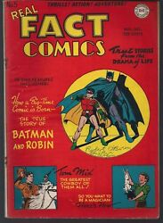 Real Fact Comics 5 Dc 11/46 True Story Of Batman And Robin Cover + Tom Mix Fnvf