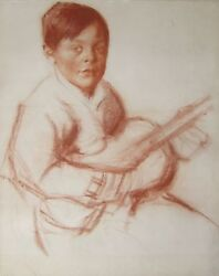 Entourage Alexandre Iacovleff Russian French Drawing Blood Child Guitar Musician