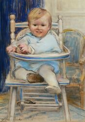 Madeleine Carpentier French Pastel Drawing Portrait Baby Child Chair Painting