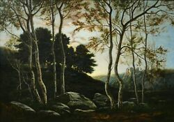 Felix Choisnard Oil Painting French Landscape Brittany Twilight Sunset Forest