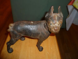 Vintage Antique Large Cast Iron Boxer Boston Terrier Bull Dog Door Stop Statue