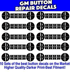GM Chevrolet AC Climate Control Button Repair Decal Stickers 9 - Sets