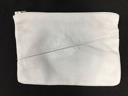 White Leather Deerskin Zipper Makeup Bag Pouch Purse for Makeup Credit Cards etc
