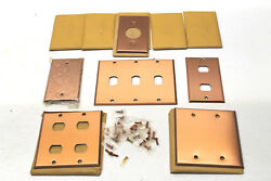 10 Heavy Duty Antique Smooth Copper Metal Plate Switch Phone Blank Light Covers