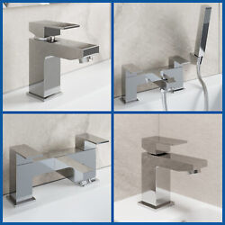Modern Chrome Bathroom Square Tap Sets   Basin And Bath Taps With Shower And Waste