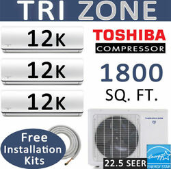 36000 BTU Tri Zone Ductless Mini Split Air Conditioner Heat Pump : 12000 x 3