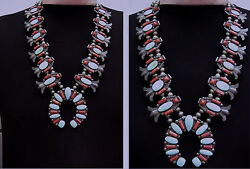 HORACE iULE (more than likely) = 1930s #8 Turq. CORN BLOSSOM Zuni NECK. w Coral