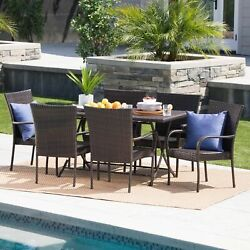 Nina Outdoor 7-piece Multi-brown Wicker Dining Set With Foldable Table