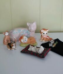 VINTAGE CAT FIGURINES LOT OF 7  Pre-Owned Ceramic Bone china crystal