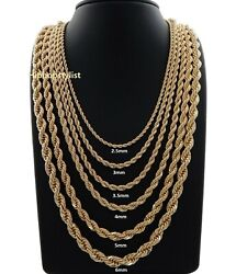 Hip Hop Rope Chain Necklace 16 18 20 22 24 26 30 Inch 14k Gold Finish