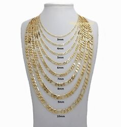 14k Italian Figaro Link Chain Necklace 3mm to 10mm Gold Plated 16quot; 18quot; 20quot; 24 30