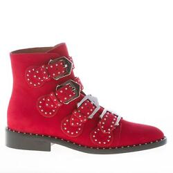 Givenchy Women Shoes Red Leather Ankle Boot Straps Buckles Studs Be08143124600