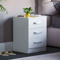 Hulio High Gloss Chest Of Drawers White 3 Drawer Metal Handles Bedroom Furniture
