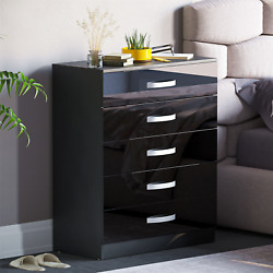 Hulio High Gloss Chest Of Drawers Black 5 Drawer Metal Handles Bedroom Furniture