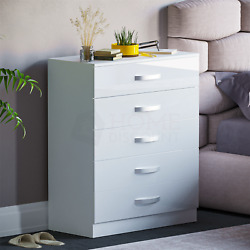 Hulio High Gloss Chest Of Drawers White 5 Drawer Metal Handles Bedroom Furniture