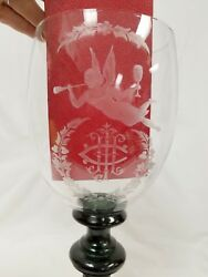 Giant Antique Victorian Etched Glass Goblet With Flying Angel Blowing A Trumpet