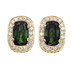 Vintage 1.8ct Diamond And 20ct Green Tourmaline Clip On Earrings 18k Yellow Gold
