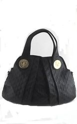 GUCCI Black Logo Purse Satchel Tote Medium w Gold Designer Hardware $2400