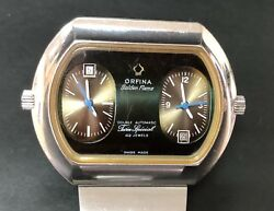 Orfina - Double Flame - Twin Special 42 Jewels Dual Time - Automatic - Rare Xl