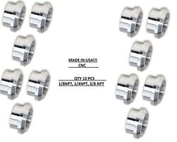 12 Pack Lot 1/8 Npt Female 6061 Aluminum Flange Weld On Bung Whole Sale Costs