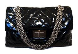 CHANEL Black Patent Leather Oversized Xxl Classic Flap Tote Shoulder Bag