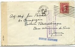 Dead Letter Dlo 1940 Mufti Mail Service Suspended Censor Cover Canada