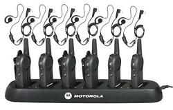 6 Motorola Dlr1020 Two Way Radios With Earpieces And Bank Charger