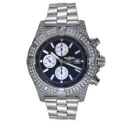 Breitling Super Avenger Stainless Steel Chronograph Watch 7 Carat Diamonds A1337