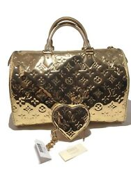 LOUIS VUITTON LIMITED EDITION GOLD MIRROR MIROIR SPEEDY BAG AND POUCH