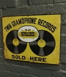 Twin Gramophone Enamel Sign Vitreous Porcelain Sign Twin Gramophone Sold Here