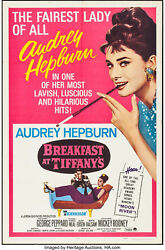 Movie Poster Breakfast At And039s 1961 R-1965 27x41 Vf 7.5 Audrey Hepburn