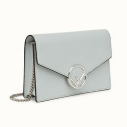 Fendi Light Grey Calfskin Leather F Wallet On Chain Tote