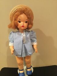 Doll Terri Lee Painted Plastic Patent Pending Blue Summer Suit Tagged