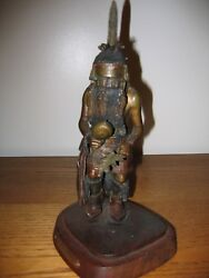 Lowell Talashoma Sr. Wood Carving Cast In Bronze Long Haired Man 1980's