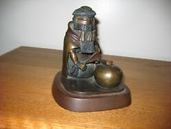 Lowell Talashoma Sr. Wood Carving Cast In Bronze Long Haired Woman 1980's