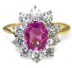 2.50ct Natural Pink Sapphire F Vs Diamond And 18ct Yellow Gold Engagement Ring