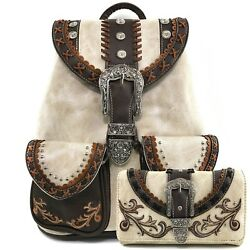 Justin West Trendy Western Rhinestone Concealed Carry Backpack and Wallet Set