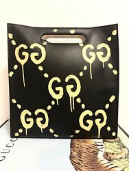 GUCCI GHOST Real Calf Leather Handbag Logo Painted Print Purse Black Auth Rare