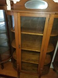 Antique Oak Wood And Glass Side Curved China Cabinet Curio Plates Display Key