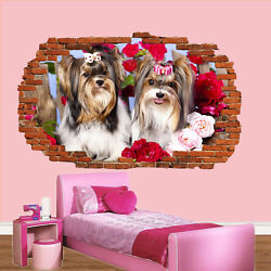 YORKSHIRE TERRIERS DOGS WALL STICKERS 3D ART MURAL POSTERS OFFICE HOME DECOR UP3