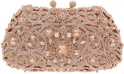 Evening Luxury Rose Gold Bling Crystal Clutch Purse Bag US SHIPPER