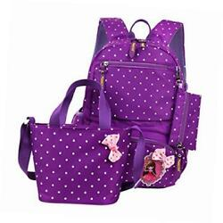 polka dot bowknot school backpack for girls kids book bags set with handbag