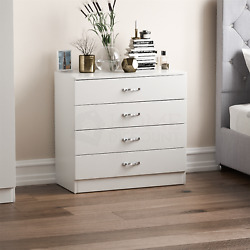 Riano Chest Of Drawers White 4 Drawer Metal Handles Runners Bedroom Furniture