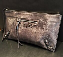 Balenciaga City Black Silver Milky Way Classic Large Leather Clutch Zipper Party
