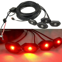 4pcs Pods Red High Power Led Rock Light Kit For Jeep Truck Suv Off-road Boat