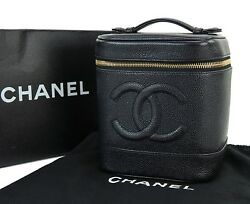 Auth CHANEL Black Caviar Leather Cosmetics Pouch Vanity Case Travel Bag #27311