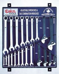 Genius Tools 44 Piece Sae Adjustable And Combination Wrench Display Board - Hs-44a